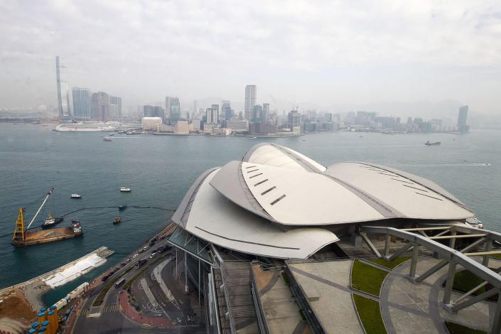 Hong Kong's Victoria Harbor as seen from the city's convention and exhibition center