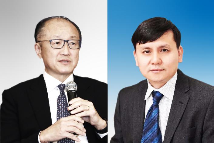 Jim Yong Kim (left) and Zhang Wenhong.