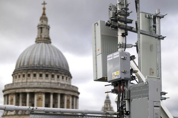 An array of 5G masts including Huawei equipment in central London. Photo: Bloomberg