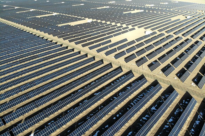 A solar power plant in Dunhuang, Gansu province, Feb. 11.