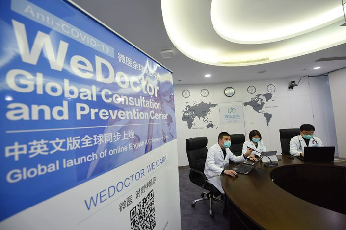 Chinese doctors provide free consultations to their compatriots overseas on March 17 via a WeDoctor platform.