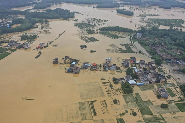 The Guangdong province town of Yonghan was flooded on June 9. Photo: China News Service