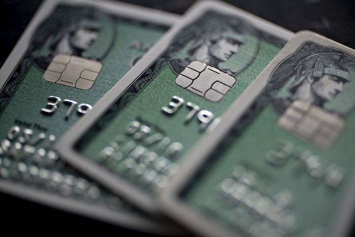 American Express Co. chip credit cards are arranged for a photograph in Washington