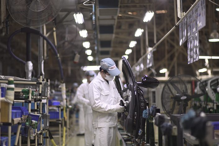 A Honda production line in Guangzhou, Guangdong province, March 29, 2020