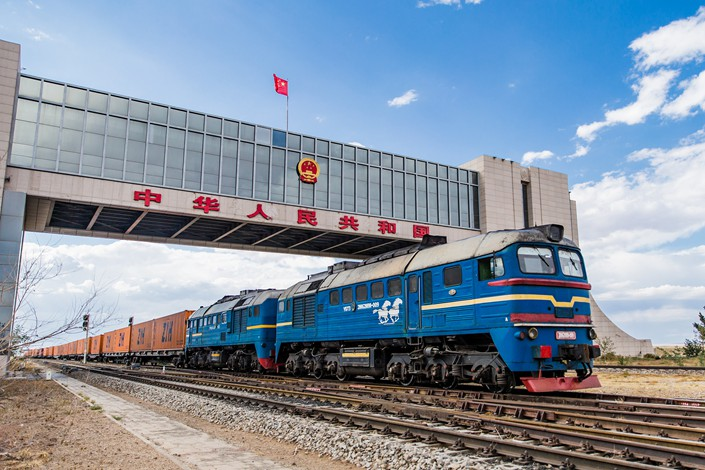 A China-Europe freight train enters China from the border port of Erenhot in North China's Inner Mongolia autonomous region on July 1.