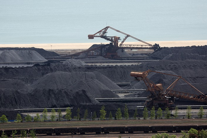 A coal storage yard in Rizhao, Shandong province, on May 18.