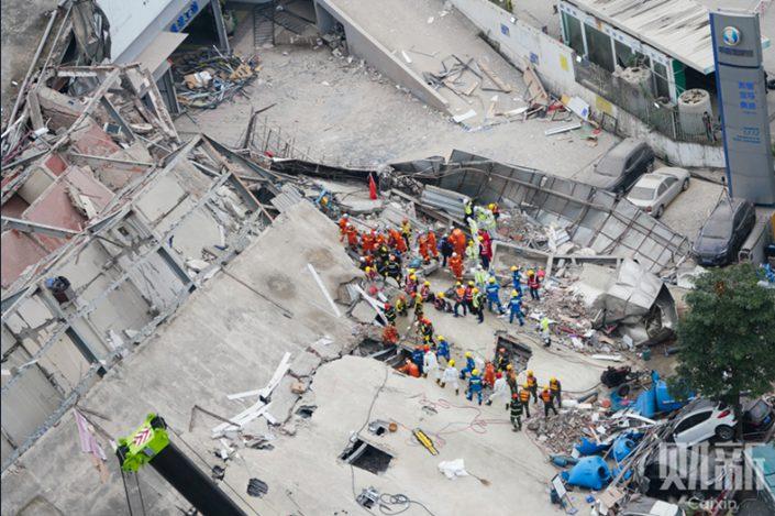 The collapsed Xinjia Express Hotel in Quanzhou, Fujian province. Photo: Wei Shumin/Caixin