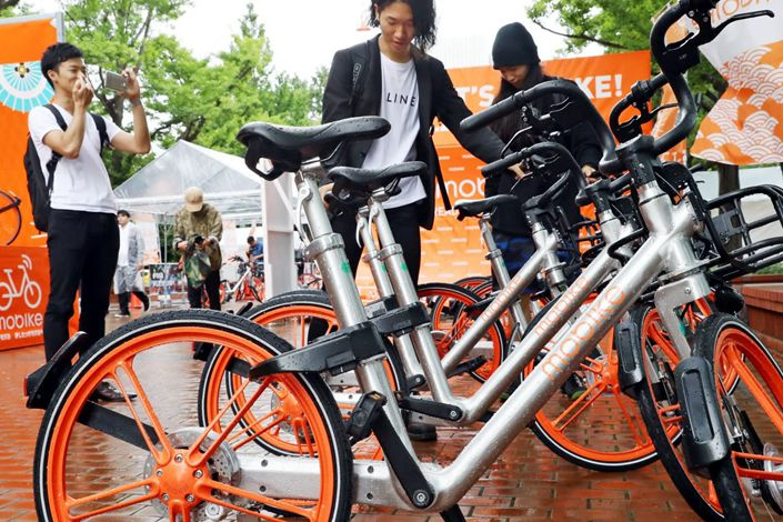 Mobike began its service in places popular with foreign tourists in Japan, like this Sapporo location.