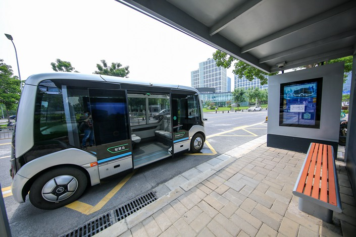 A self-driving bus in Zhengzhou, Henan province, on Aug. 11.