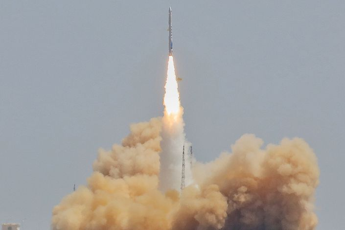 An iSpace rocket is launched from the Jiuquan Satellite Launch Center on July 25, 2019.