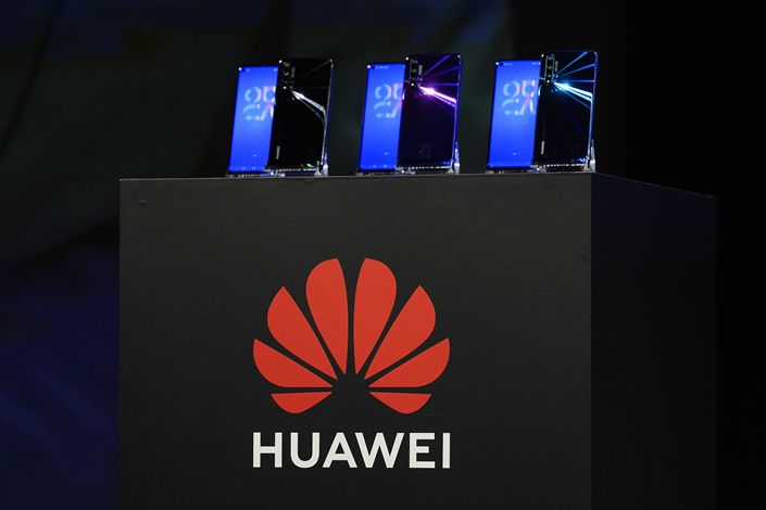 New products are displayed at a Huawei promotional event in Tokyo, Japan, Nov. 14, 2019