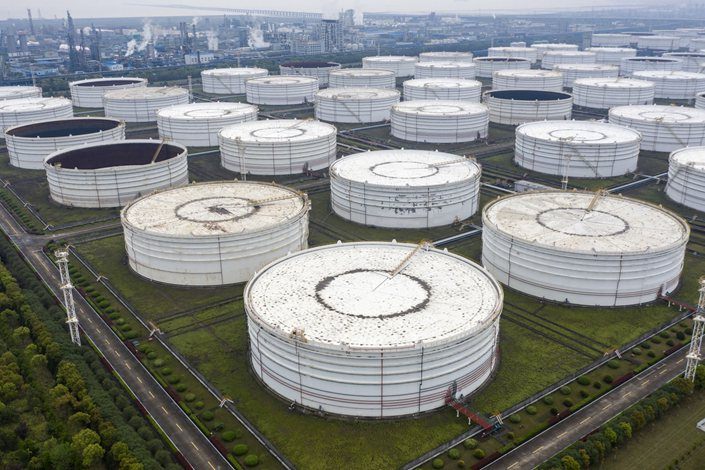 Oil storage tanks are seen in this aerial photograph taken on the outskirts of Ningbo