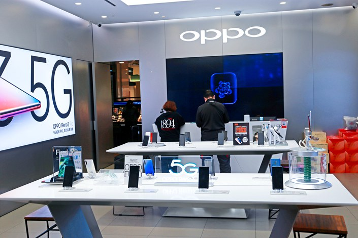 An Oppo store in Shanghai on April 1.