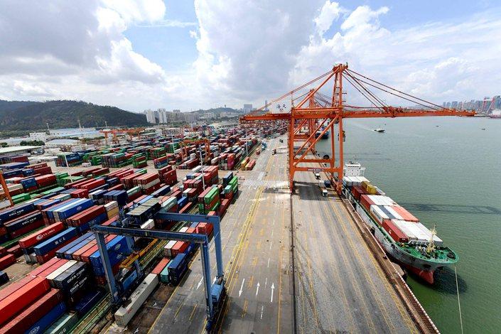 Haitian wharf, Xiamen port, East China's Fujian province on Aug. 27.