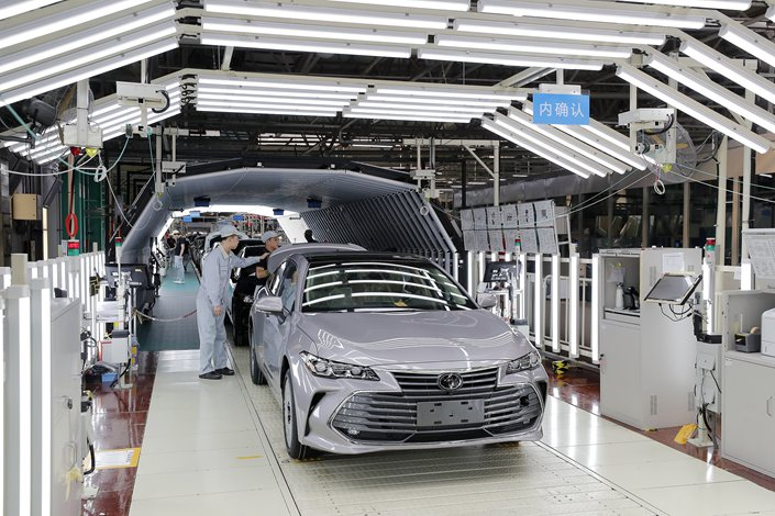 A Toyota production line in Tianjin on March 22, 2019.