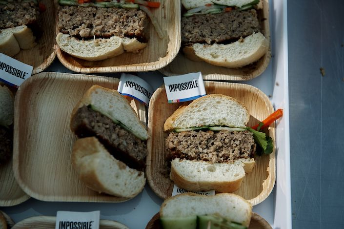A sandwich made with plant-based pork product is served at the Impossible Foods Inc. booth in Las Vegas, Nevada, U.S., Jan. 7.