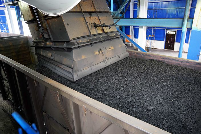 Coal is transported by railway in Xianyang, Shaanxi province, on Sept. 23.