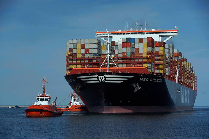The world's largest container ship MSC Gulsun sails into a port in Gdansk, Poland, on August 23.
