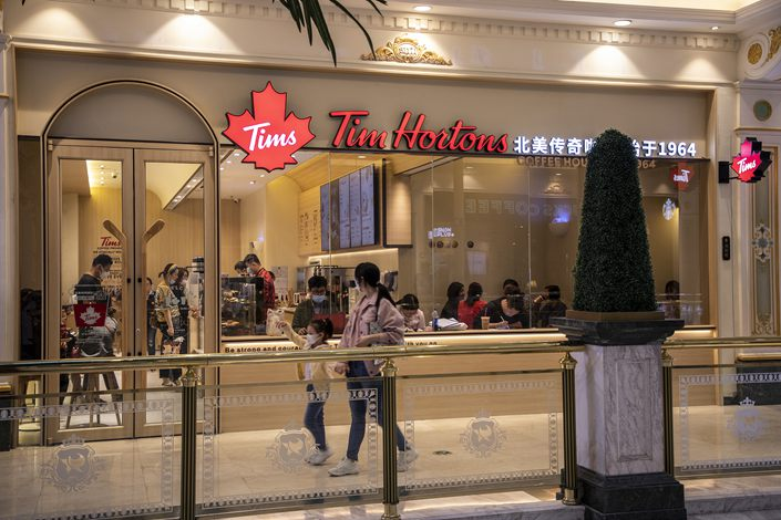 A Tim Hortons coffee shop in Shanghai, Oct. 17, 2020.