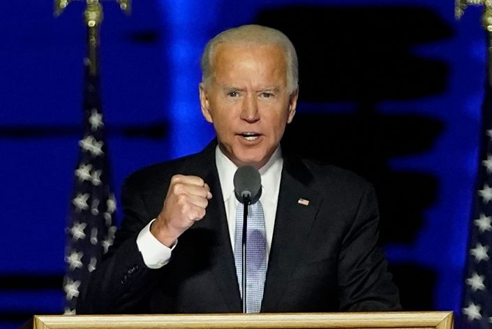 Joe Biden speaks in Wilmington, Delaware, on Nov. 7.