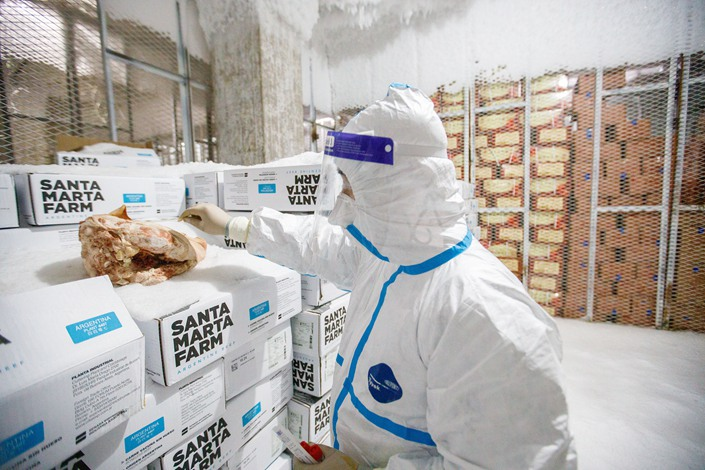 Frozen products are tested for coronavirus in Tianjin on Nov. 9.