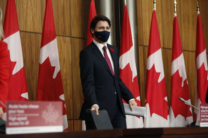 Justin Trudeau, Canada's prime minister, arrives to a news conference in Ottawa, Ontario, Canada, on Nov. 9.