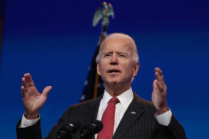Joe Biden speaks during an online press conference in the U.S. on Thursday.