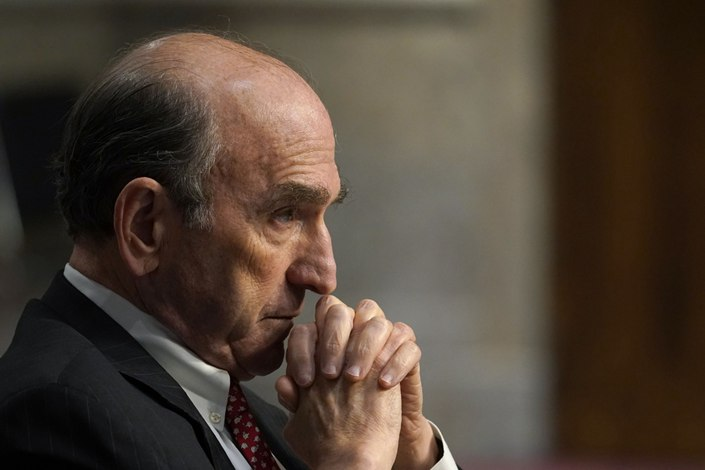 Elliott Abrams, special representative for Iran and Venezuela at the U.S. Department of State, listens during a Senate Foreign Relations Committee hearing in Washington on Thursday.  Photo: Bloomberg