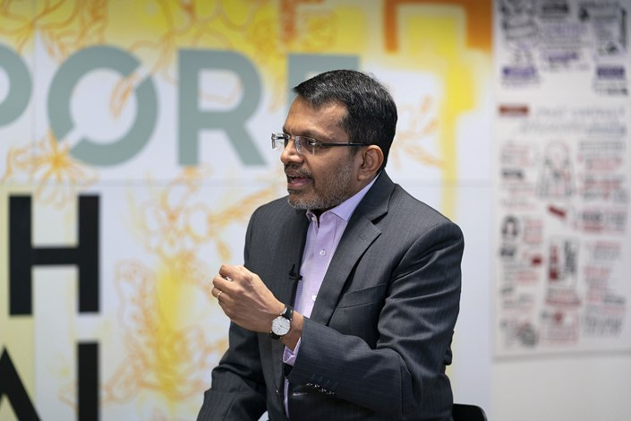 Ravi Menon, managing director of the Monetary Authority of Singapore, gives an interviewe in Singapore.