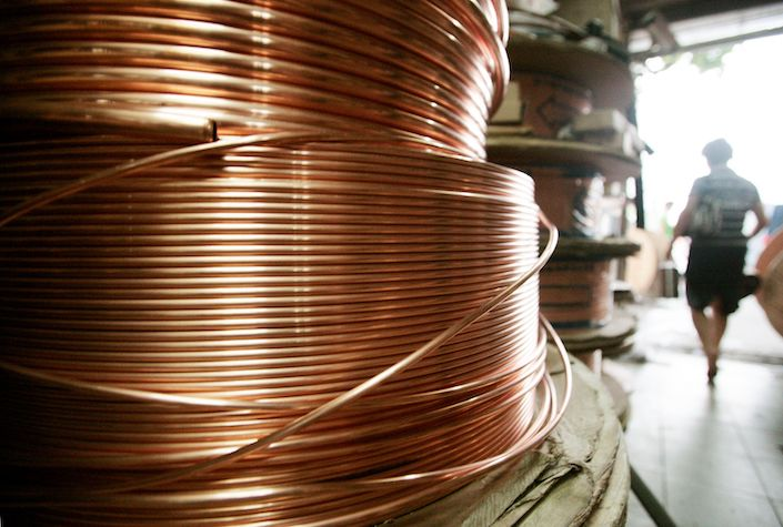 Copper tubing is for sale at a store in Shanghai