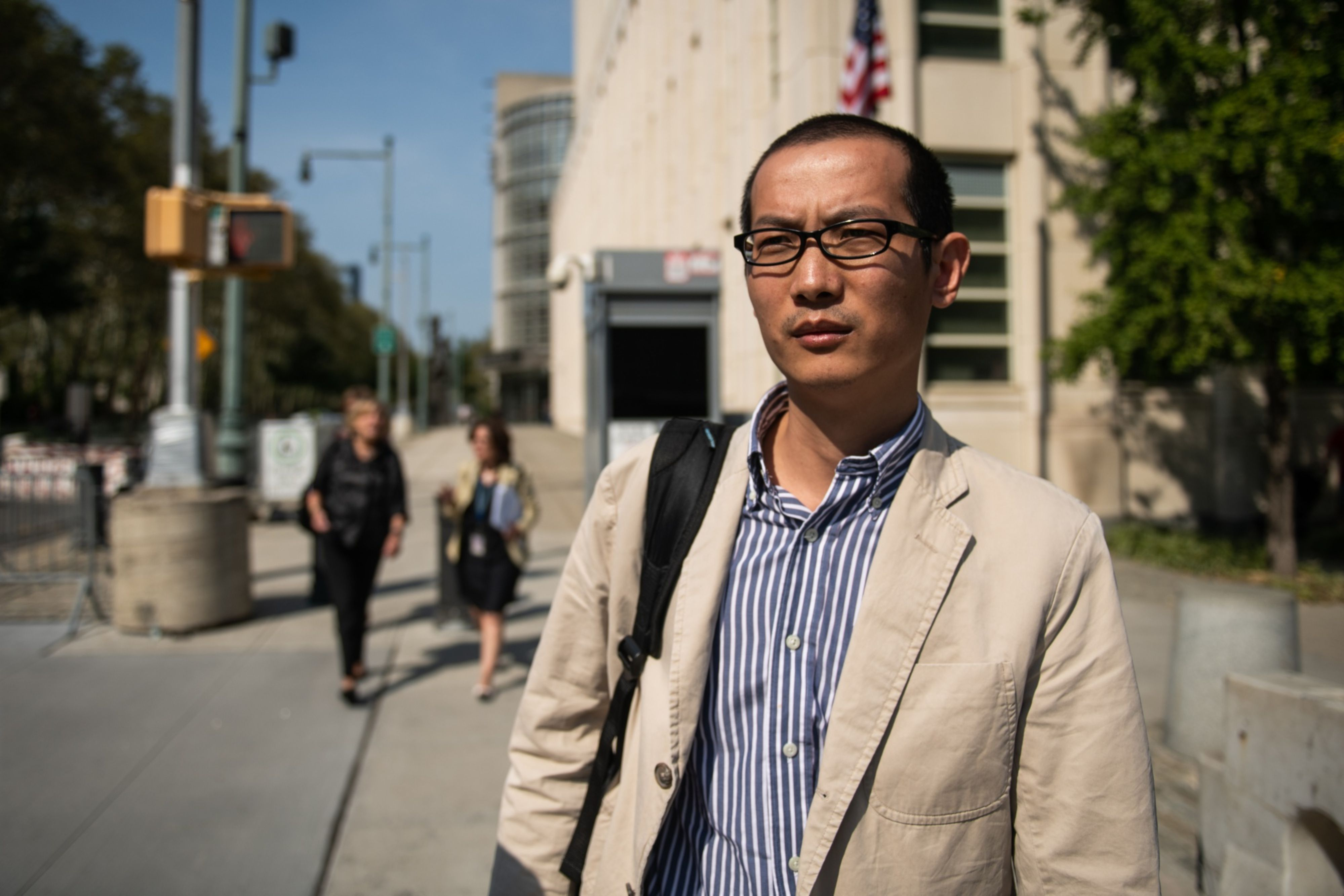 Bo Mao, a professor at Xiamen University in China and a visiting professor of computer science at the University of Texas at Arlington, departs federal court in New York on Sept. 11, 2019. Photo: Bloomberg