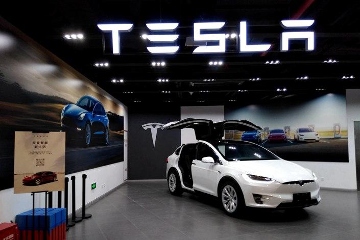 A Tesla dealership in Shanghai on Aug. 14.
