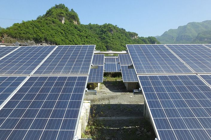 A solar power station under contruction in Yichang, Hubei province, on April 19.