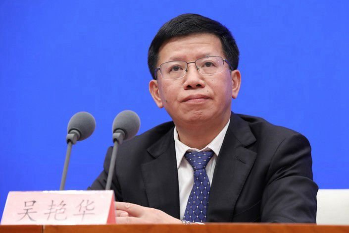 Wu Yanhua, a vice administrator of the China National Space Administration, speaks Thursday about the Chang'e-5 mission at a press conference in Beijing.