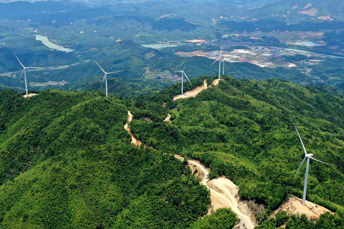 A Three Gorges wind power project under construction in Yong'an, Fujian province.