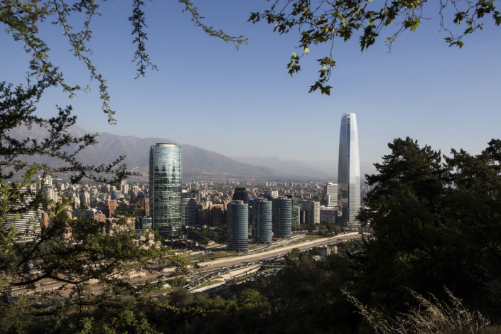 Buildings stand in the skyline of downtown Santiago, Chile, on Dec. 3, 2014.  Photo: Bloomberg