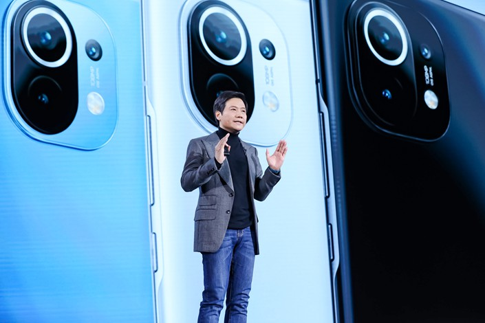 The Mi 11 entered a presale phase Monday night before becoming available to the market on Jan. 1, founder and CEO Lei Jun said at the launch event. Photo: Xiaomi