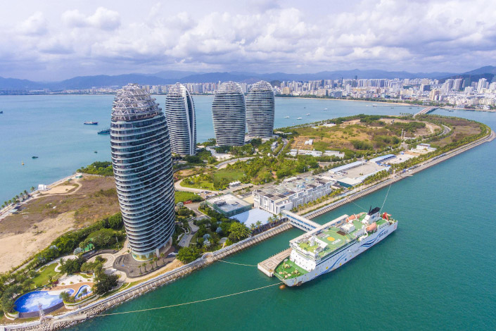 The Phoenix Island International Cruise Terminal in Sanya, South China's Hainan Province