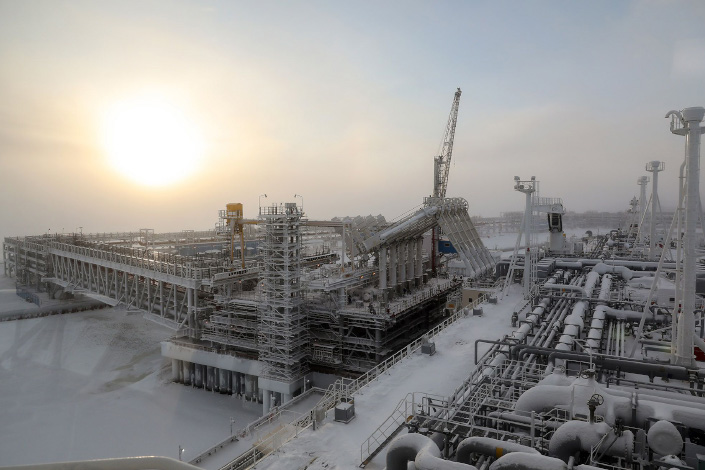 An Arctic tanker loading liquefied natural gas at the Yamal LNG plant in the port of Sabetta, Russia. Photo: Bloomberg