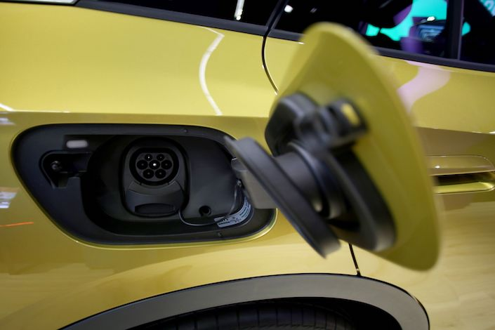 The charging point on a Volkswagen AG (VW) ID.4 electric automobile at the VW headquarters in Wolfsburg