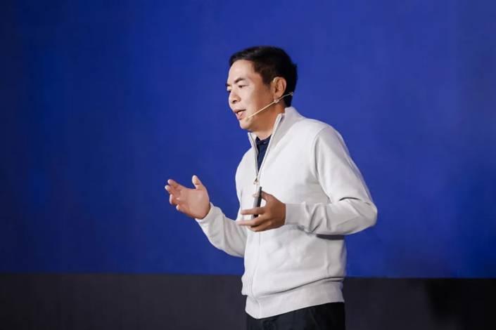 WeChat creator Zhang Xiaolong speaks in Beijing on Jan. 19. Photo: WeChat
