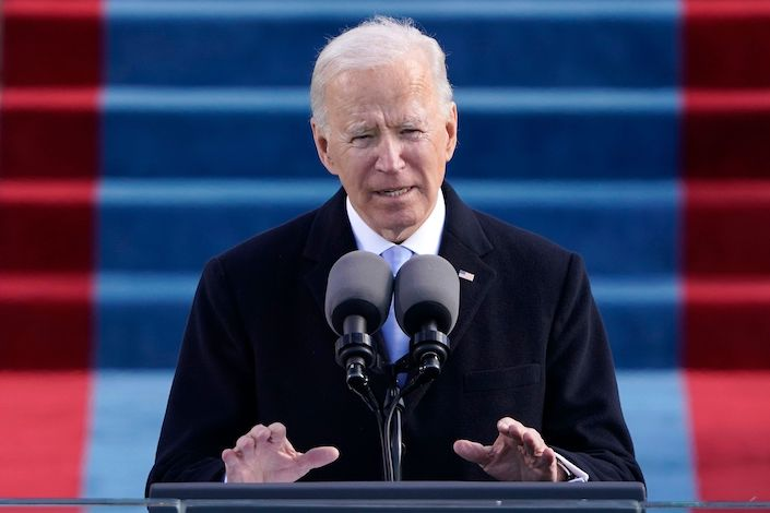 Joe Biden speaks at the inauguration as the 46th President of the United States.