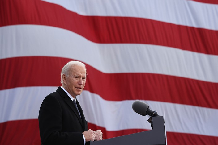 """One day before his inauguration, then-U.S. President-elect Joe Biden speaks at a national guard reserve center named after his deceased son, Joseph """"Beau"""" Biden III, on Jan. 19 in the U.S."""