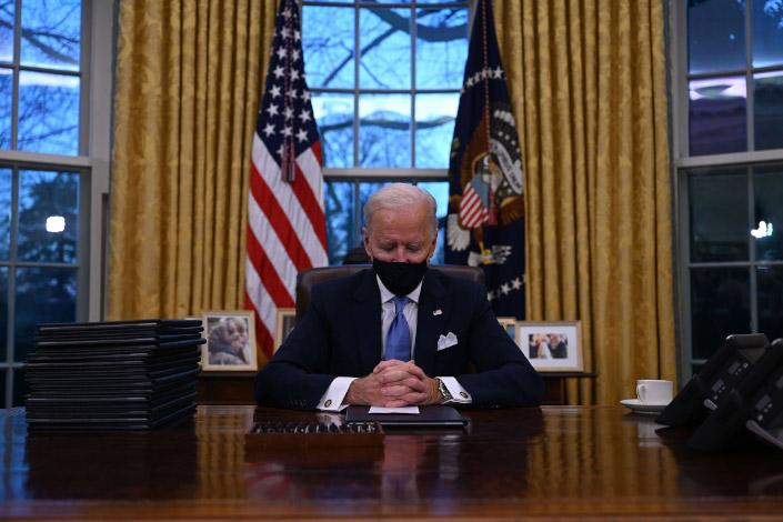 U.S. President Joe Biden in the Oval Office Jan. 20.