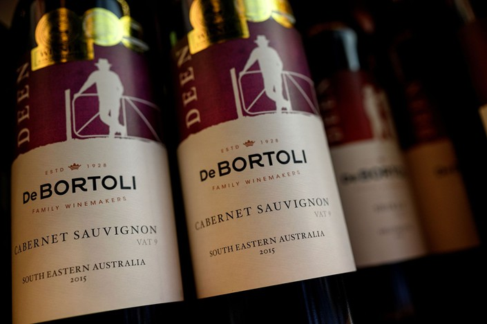Australian wine sits on display at a store in Beijing on Dec. 23. Photo: VCG