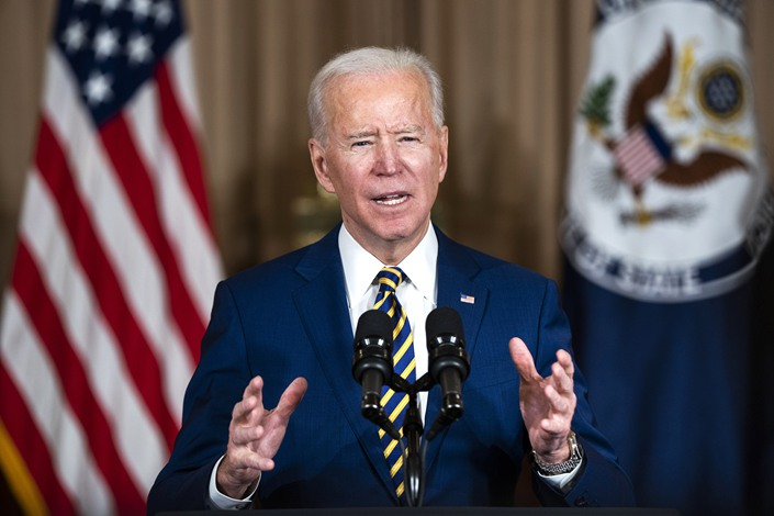 U.S. President Joe Biden speaks at the State Department in Washington on Thursday. Photo: VCG