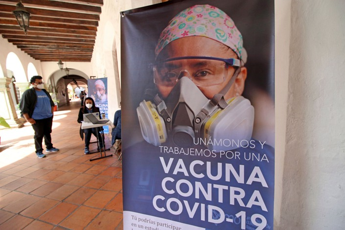 A recruitment poster for phase 3 trials of CanSino's Covid-19 vaccine. Photo: Bloomberg