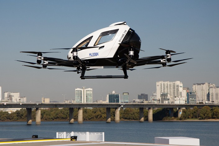 An EHang 216 autonomous aerial vehicle prepares to land during an event in Seoul, South Korea, on Nov. 11, 2020.
