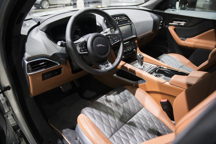 The interior of a Jaguar Land Rover Plc F-Pace SVR crossover vehicle. Photo: Bloomberg