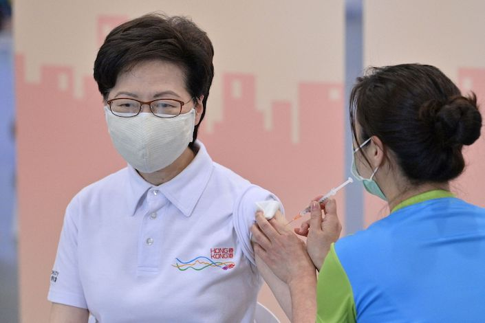 Carrie Lam receives the Sinovac vaccine shot Monday